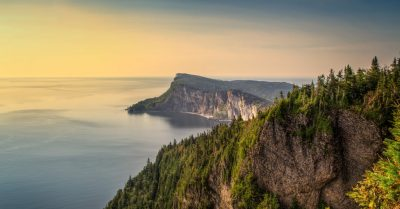 Forillon National Park From Above at Sunrise (Quebec)