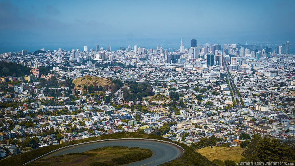 San Francisco Panorama From Twin Peaks Phototraces
