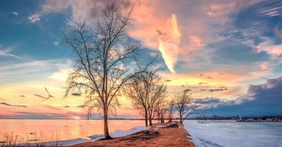Extreme Sunset at Saint Lawrence River (Montreal)