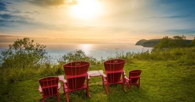 Red Chairs Over the Bay of Fundy (New Brunswick)