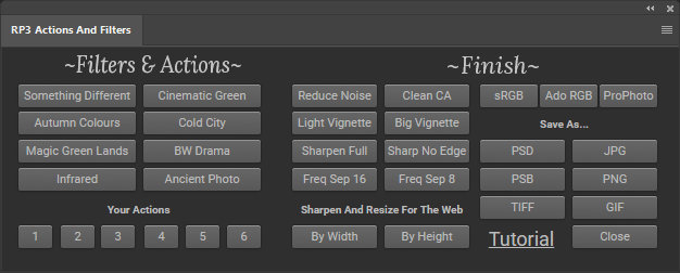 Actions and Filters Panels