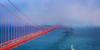 Sailing in the Fog Under the Golden Gate Bridge (California)