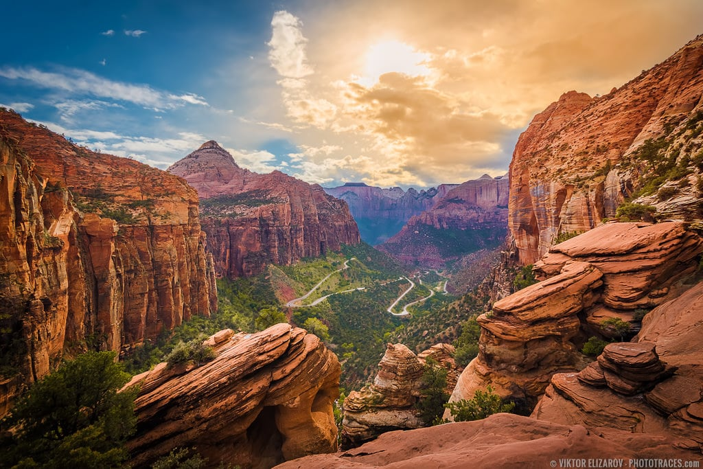 Sunset at Canyon Overlook in Zion National Park