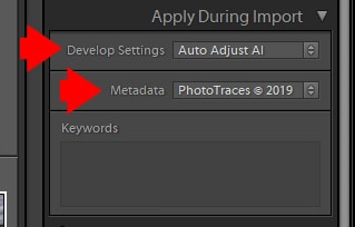 Lightroom Import - Apply During Import
