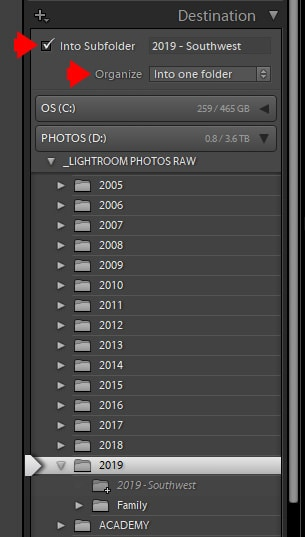 Lightroom Import - Destination Panel Options