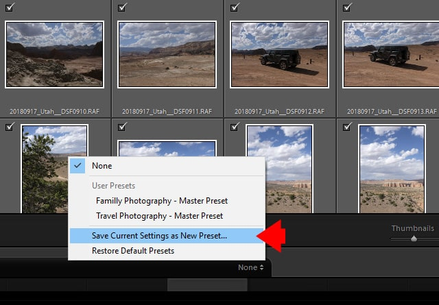 Lightroom Import Module - Save the Current Settings as a New Preset