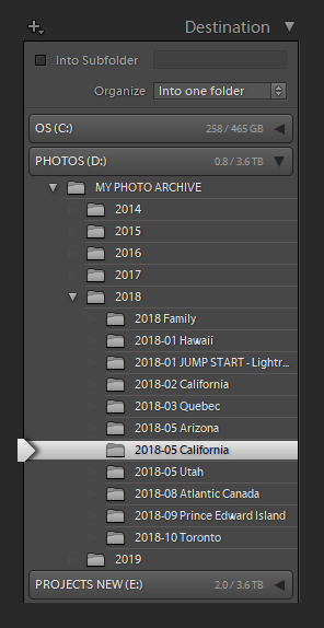 Lightroom Import Module - the Destination Panel