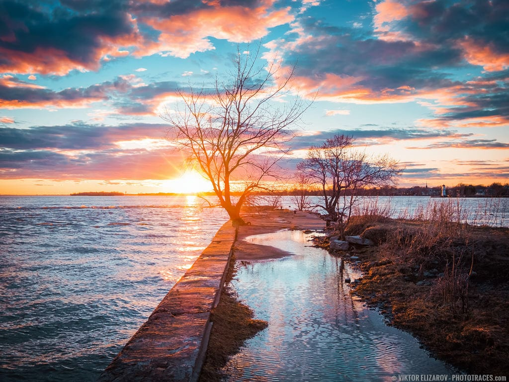 Urban landscape: sunset photo of Saint Lawrence river in Montreal, Canada