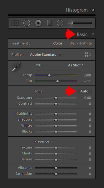 Use AUTO Tone Tool in the Basic Panel