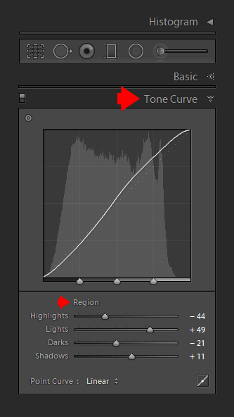Using the Tone Curve Panel to Control the Contrast