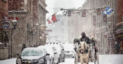 Snow Ride in Old Montreal