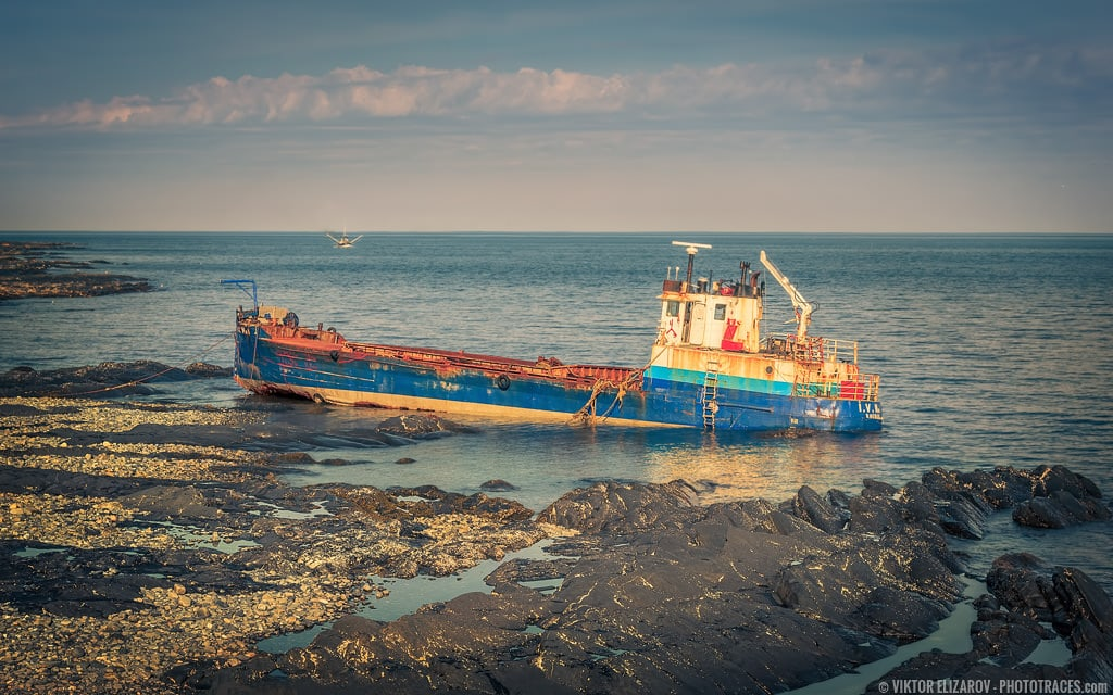 Shipwreck on a Rocky Shore of Gaspé Peninsula (Canada)