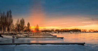 Sunset at the Marina in Winter (Montreal)