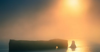 Perce Rock in the Sunrise Fog (Quebec)
