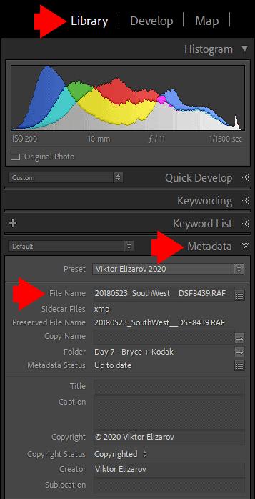 Renaming an individual file in Lightroom's Metadata panel